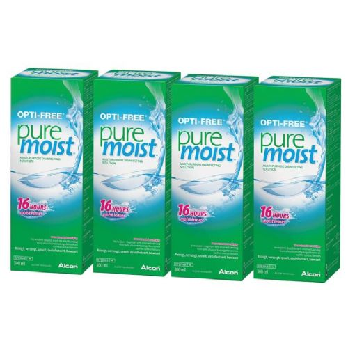 Alcon Opti Free Pure Moist MultiPurpose Contact Lens Solution 4 x 300ml 6 Months